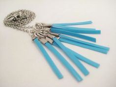 Silver Tone Long Chain Necklace with Blue by DesiredSimplicity, $11.00