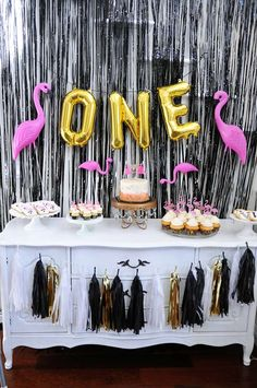 Vera's Black and Gold Flamingo First Birthday Party | CatchMyParty.com