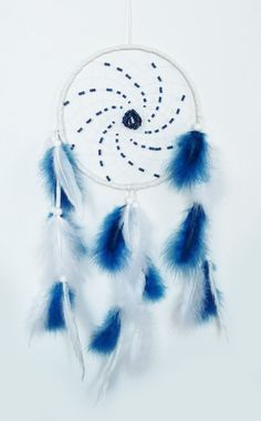 Dreamcatcher White and deep blue  Large by Vendelboe on Etsy, $70.00