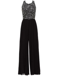 Badgley Mischka Black Women 18 Plus Sequin Pleated Wide Leg Jumpsuit - for sale online Prom Jumpsuit, Formal Jumpsuit, Jumpsuit Outfit, Sequin Jumpsuit, Jumpsuit For Wedding Guest, Dressy Jumpsuit Wedding, Vetement Fashion, Badgley Mischka, Elegant Outfit