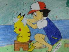 Á slept heures et demise, pikachu se douche, est lave la figure
