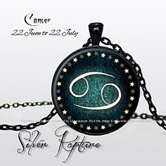 Cancer The Crab Zodiac Sign Ancient Symbols Birth Sign Astrology Greek Mythology Blue Background Star Border Glass Photo Pendant Silver Necklace Jewelry by ChicBridalBoutique on Opensky