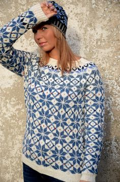 Fair Isle Sweater Blue White Sweater Comfy sweater Nordic by adaLV Nordic Pullover, Nordic Sweater, Comfy Sweater, White Sweaters, Sweaters For Women, Fair Isle Pullover, Pull Jacquard, Pull Bleu, Icelandic Sweaters