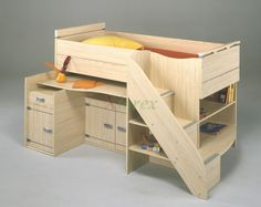Cabin Bed Cabin Bed - Gami Montana cabin bed in White Ash Effect finish and Alder Effect finish by Gautier. This Gami cabin bed comes with a European mid sleeper single bed over 2 sliding out shelves for double desk top for two kids, an optional slide-out bed with 2 compartment storage drawer, and a staircase on the right.  https://www.xiorex.com/cabin-bed-compact-gami-skipper-compact-cabin-bed-by-gautier-xiorex