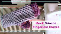 Loom Knitting, Knitting Stitches, Knitting Ideas, Knitting Machine Patterns, Fingerless Mittens, Vintage Knitting, Mitten Gloves, 2 Colours, Creative