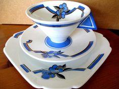 Art Deco / Vintage China Tea Set Trio.Shelley Vogue.Blue Linear Boarders.11744 #Teasetsaucerandteaplatetrio