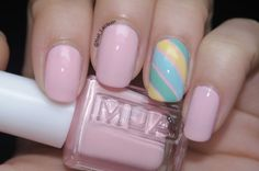Sweet Pale Pink Nail Art Design Idea With Green And Turquoise And Yellow Diagonal Lines Motif - Natural Nail Art #prom nail art