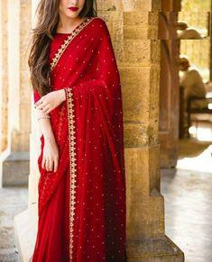 Saree designs - Red colore designer saree with moti work wedding wear saree exclusive Saree Party wear saree Bollywood Style Designer saree – Saree designs Bollywood Dress, Pakistani Dresses, Indian Dresses, Indian Outfits, Indian Sarees, Bollywood Fashion, Punjabi Dress, Saree Designs Party Wear, Party Wear Sarees