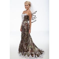 """3887 """"Ellen"""" Bridal Mermaid with beaded lace on the front bodice and on the sweep train. Shown in Realtreee APG. Available in all camo patterns in sizes 2-30. Made in the USA by Camo Formal."""