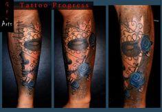 Tattoo Progress,   my first tattoo on skin, my skin .. on the left forearm (w.i.p.)