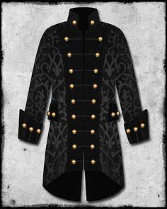 Raven Mens Black Steampunk Brocade Goth Military Velvet Trim Pirate Coat Jacket | eBay $227 If only it wasn't black