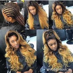 360 lace frontal sew in blonde ombré Sew In Hairstyles b996ed4b7