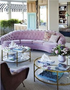 lOVE the tables and the sofa........love the awning outside........love the leather chair basically I love this room.