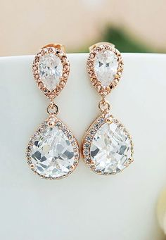 Rose Gold Luxury cubic zirconia Bridal Wedding Earrings from EarringsNation