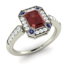 Ray Engagement Ring with Emerald cut Garnet, Sapphire, SI Diamond   1.42 carat Rectangle Garnet  Halo Engagement Ring in Sterling Silver   Diamondere