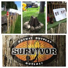 Survivor - here was the original post that sparked the ideas. I like the orange and yellow sign too PlayerLove is in the Details: Survivor: Birthday Island! Survivor Party Games, Survivor Theme, Survivor Crafts, Camping Parties, Camping Theme, Survivor Island, Survivor Challenges, Boy Birthday Parties, Birthday Ideas