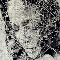 In an intriguing blend of cartography and illustration, UK artist Ed Fairburn uses maps as his canvases for stunning ink and pencil portraits. Faces are Ed Fairburn, Art Et Design, Art Du Monde, Art Carte, A Level Art, Gcse Art, Vintage Maps, Arte Pop, Art Lessons