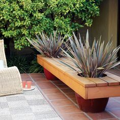 Modern planter bench - Sunset