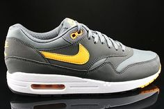 Nike Air Max 1 Essential Hombre Gris Blanco Negro Oro Oscuro.Big off for modern running is in hot sale,What are you waiting?