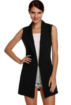 Cheap women waistcoat, Buy Quality sleeveless vest directly from China vest long Suppliers: Meaneor Vest Colete Cardigans Women Waistcoat Sleeveless Vest Long Jacket Solid Cardigan Coat Outwear Female Autumn FreeStyle Cardigans For Women, Blazers For Women, Coats For Women, Clothes For Women, Chaleco Casual, Sleeveless Duster, Black M, Casual Skirt Outfits, Long Blazer
