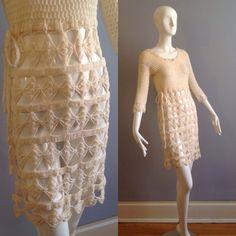 Vintage 70s Boho Hippie Crochet Dress ~ Hand Knit Sheer Wool Sweater Dress ~ Summer Festival Gauze Mini