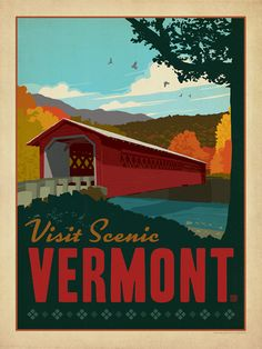 Vermont: Covered Bridge - Anderson Design Group has created an award-winning series of classic travel posters that celebrates the history and charm of America's greatest cities and national parks. This print features a vista of a charming covered bridge with colorful fall foliage all around. Printed on heavy gallery-grade matte finished paper, this print will look great on any Vermont lover's home or office wall.