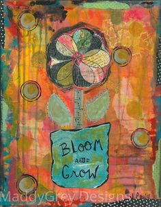 bloom and grow, gypsy art, flower art, soul growth, spiritual art, blossom, true self, be you, awaken your soul, authentic self, release joy - pinned by pin4etsy.com