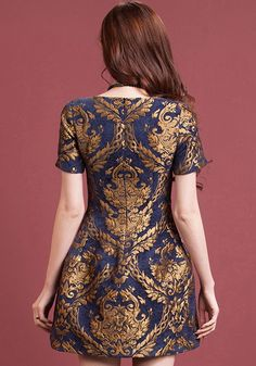 Golden Floral Embroidery Short Sleeve Dress