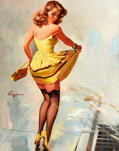 Elvgren, Gil (b,1914)- Dampened Doll, 1967 -2a