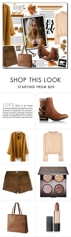 """""""Kick Up the Leaves (Stylishly) With SOREL: CONTEST ENTRY"""" by polybaby ❤ liked on Polyvore featuring SOREL, WithChic, Acne Studios, Hollister Co., Laura Mercier, Estée Lauder and sorelstyle"""