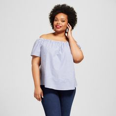 The Women's Plus Size Off the Shoulder Top by Ava & Viv™ in Blue Stripe takes a classic, flirty look and gives it a modern wash. Play with styling this women's striped blouse for versatility.