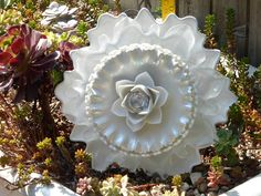 Plate Flower # 566  Drought Resistant.     Garden Yard Art glass and ceramic plate flower