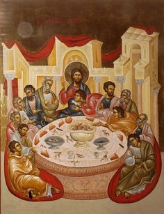 The New Romanian Masters: Innovative Iconography in the Matrix of Tradition – Orthodox Arts Journal Byzantine Icons, Byzantine Art, Religious Icons, Religious Art, Holy Thursday, Religion, Art Through The Ages, Religious Paintings, Last Supper