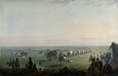 """""""Breaking Up Camp at Sunrise,"""" Alfred Jacob Miller. One of about 200 sketches and watercolors Miller made for his patron, William Drummond Stewart, on the trail and in the mountains the summer of 1837. He later fashioned many into finished oil paintings. Walters Art Museum."""