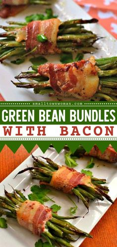 Everyone is going to love these Green Bean Bundles with Bacon! This Thanksgiving side dish is easy to put together and can be prepped ahead. Add this to your Thanksgiving dinner ideas! Holiday Side Dishes, Thanksgiving Side Dishes, Side Dishes Easy, French Green Beans, Green Beans With Bacon, Healthy Vegetables, Veggies, Green Bean Bundles, Blanching Green Beans