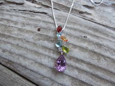 Multi semi precious stone necklace handmade in sterling silver by Billyrebs on Etsy