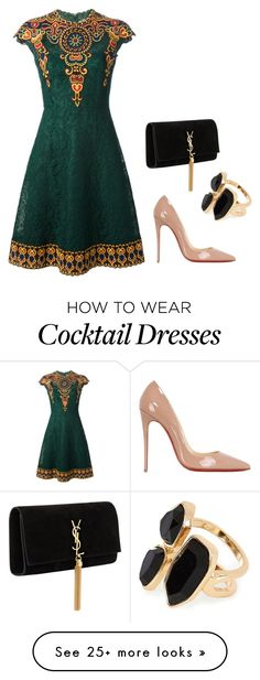 """""""Peru"""" by lowrilester on Polyvore featuring moda, Valentino, Yves Saint Laurent, River Island e Christian Louboutin"""