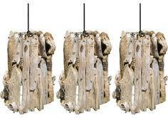 Set of Three Driftwood Pendants beach-style-pendant-lighting