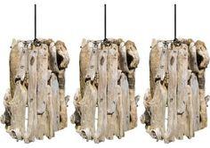 Set of Three Driftwood Pendants beach-style-pendant-lighting