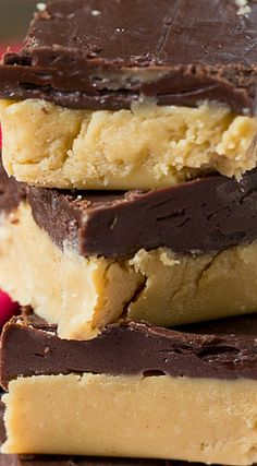 Buckeye Fudge ~ Layer of Creamy Peanut Butter Topped with Chocolate. All The Taste of Buckeye Balls, but Much Easier to Make!