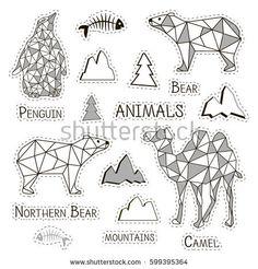 Stickers polygonal animals.