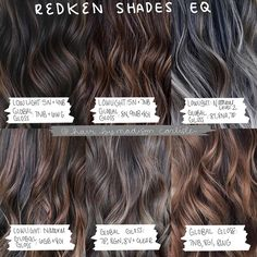 """Michigan Balayage Specialist on Instagram: """"Fall is right around the corner and you guys have been asking for a brunette formula chart, so I wanted to give you 6 formulas using…"""" Brown Balayage, Hair Color Balayage, Redken Hair Color, Balayage Hair Tutorial, Redken Hair Products, Hair Color Formulas, Fall Hair Trends, Breaking Hair, Hair Color Caramel"""