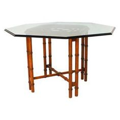 Vintage Hollywood Regency Bamboo Dining Table