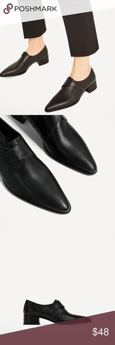 Zara flat leather shoes New with tags. Zara flat black leather shoes New with tags. Zara Shoes