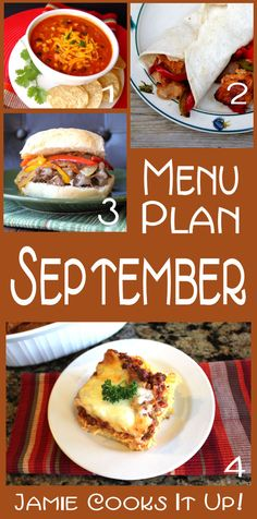 Menu Plan for the entire month of September with links to all the recipes | Jamie Cooks It Up!
