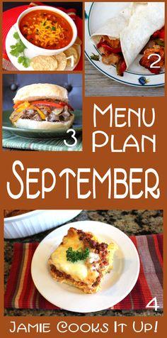 September Menu Plan from Jamie Cooks It Up!