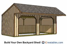 Run in shed and small horse barn plans from iCreatables. Search through our shed designs and plans by style and size. 12x20 Shed Plans, Lean To Shed Plans, Run In Shed, Free Shed Plans, Storage Shed Plans, Shed Design Plans, Plan Design, 12x24 Shed, Cool Sheds