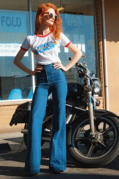 Speed Demon- inspired- ringer tee- made in use- women graphic tee- et. Speed Demon- inspired- ringer tee- made in use- women graphic tee- ethical fashion- sweat 70s Outfits, Vintage Outfits, Fashion Outfits, Fashion Clothes, Throwback Outfits, Fashion Ideas, Seventies Outfits, Fashion Tips, 60s Fashion Trends
