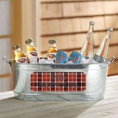 Personalized Plaid Design Beverage Tub, Red