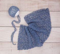 Newborn bonnet and wrap set - crochet lace wrap and bonnet - beautiful newborn photo prop wrap - multiple colors - very soft alpaca wool by Amaiahandmade on Etsy